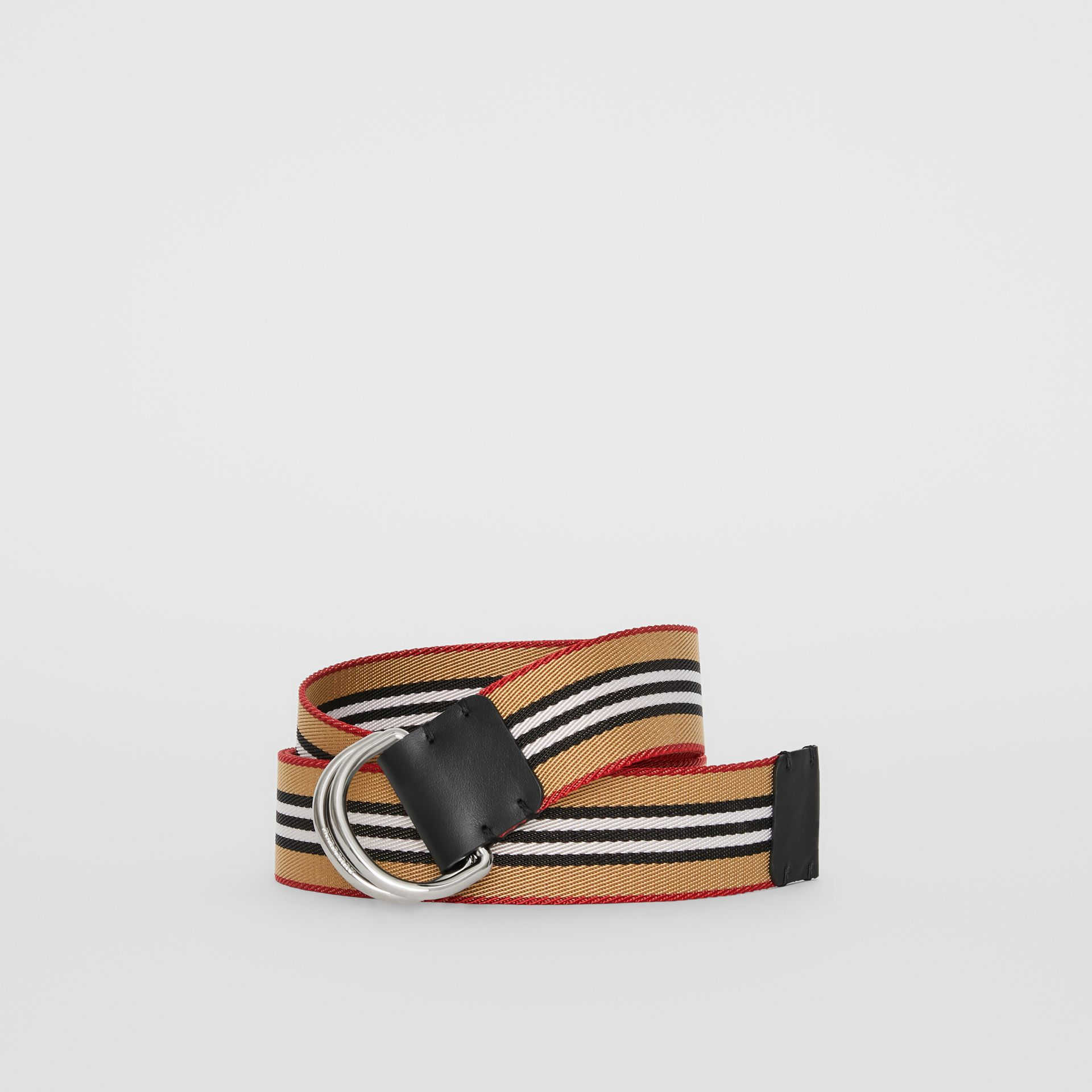 Icon Stripe Double D-ring Belt in Antique Yellow - Men | Burberry - gallery image 0