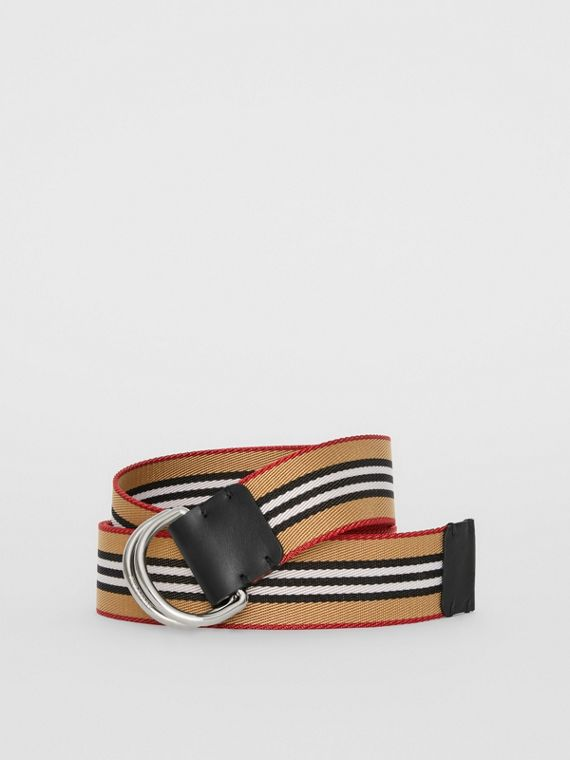 Icon Stripe Double D-ring Belt in Antique Yellow