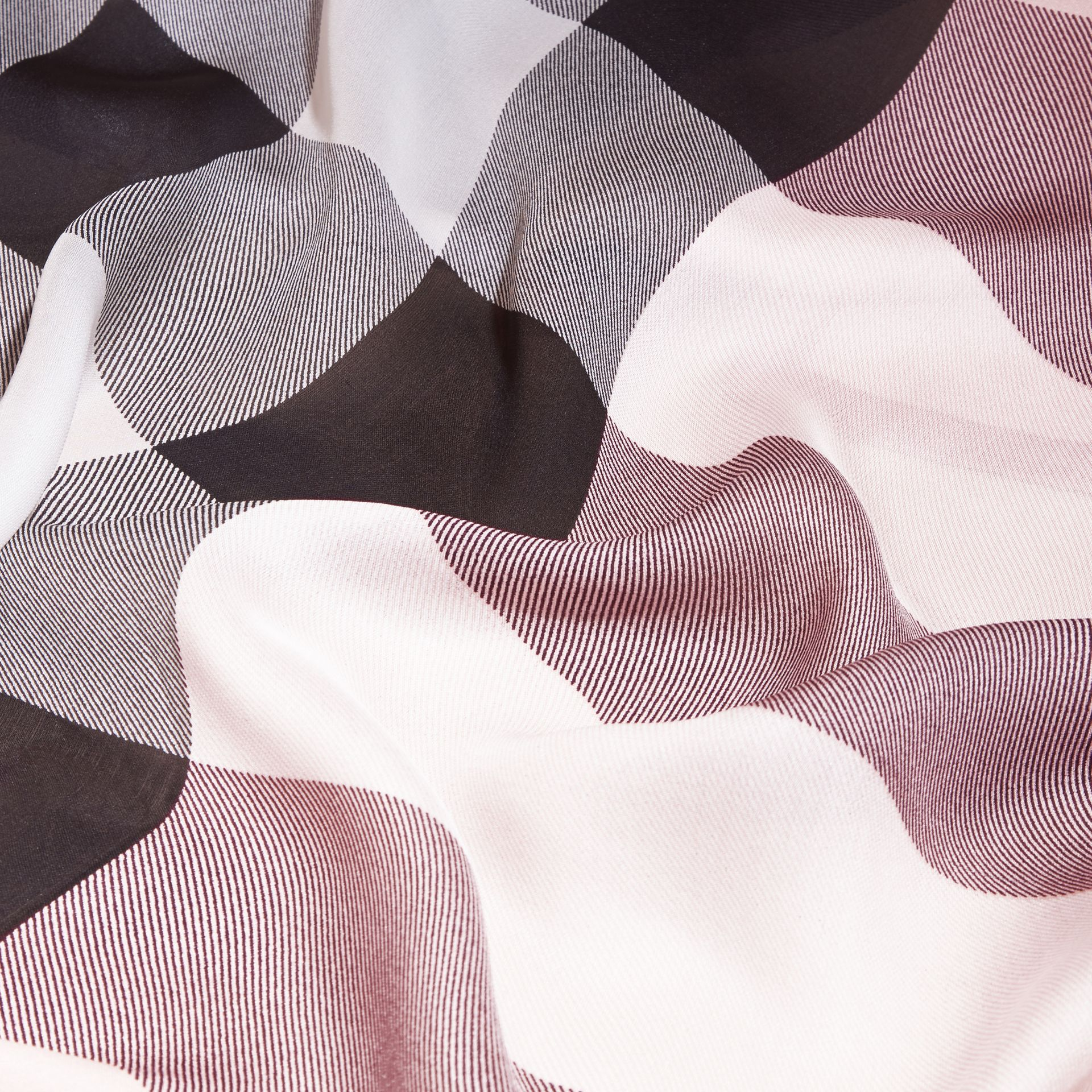 Lightweight Check Silk Scarf in Ash Rose - gallery image 2