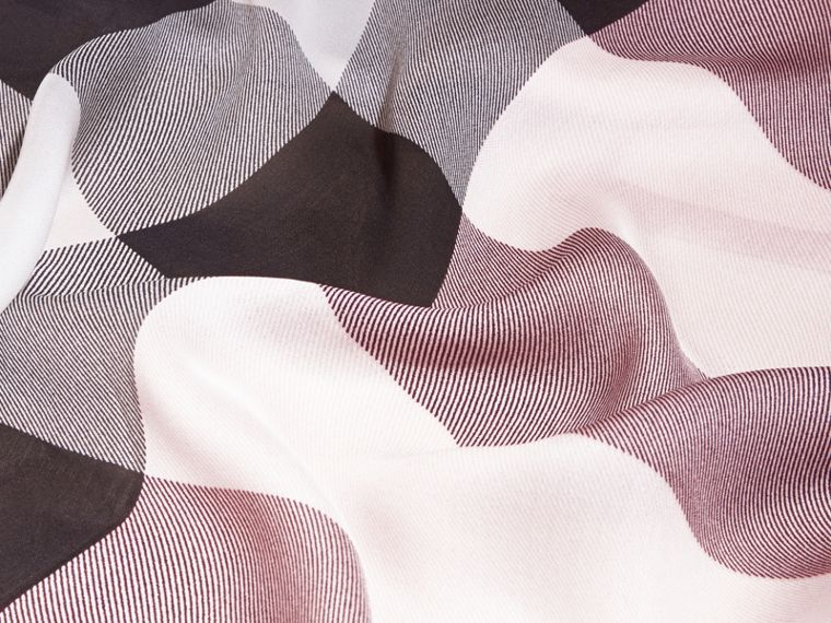Lightweight Check Silk Scarf in Ash Rose - Women | Burberry Australia - cell image 1