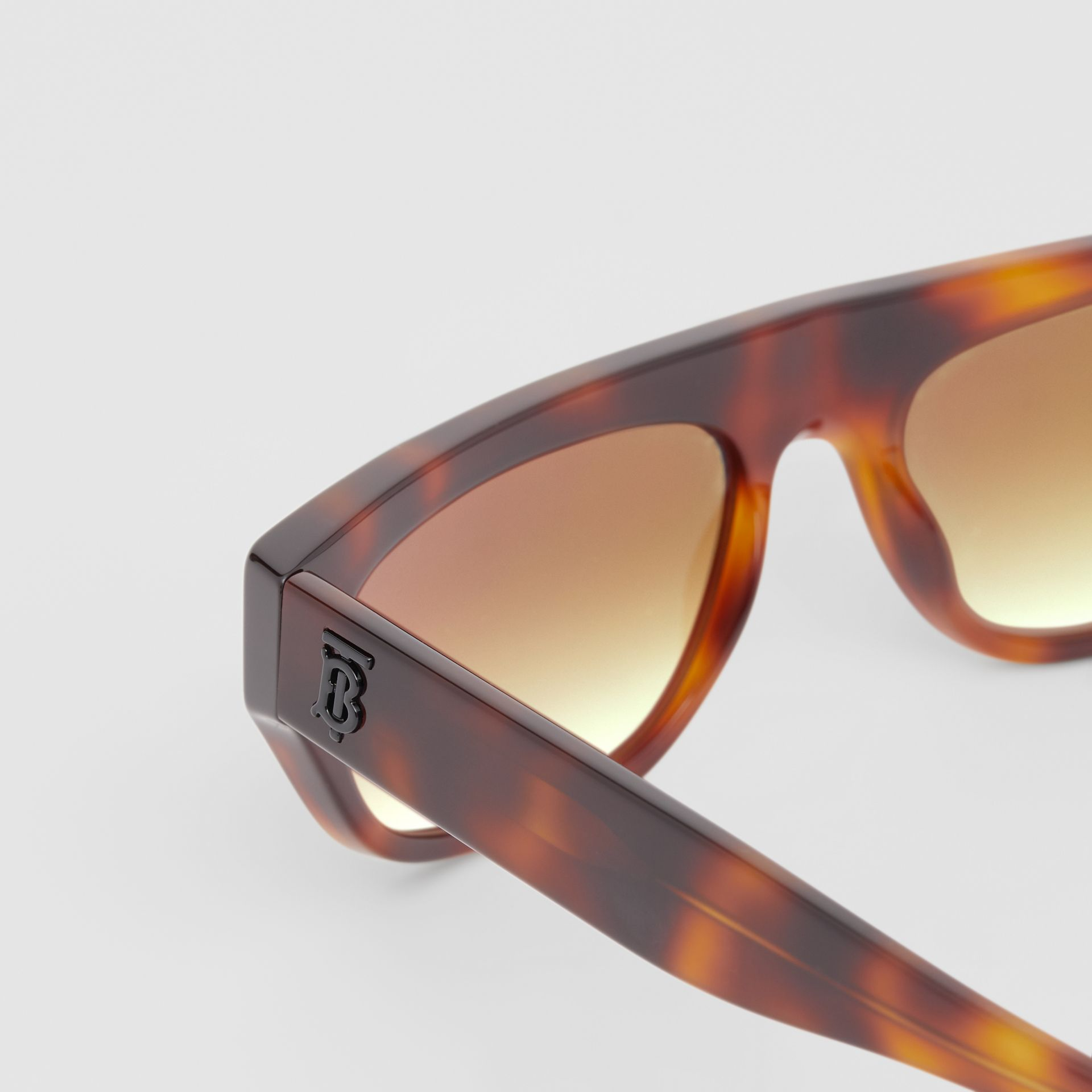 Monogram Motif Rectangular Frame Sunglasses in Amber Tortoiseshell | Burberry - gallery image 1