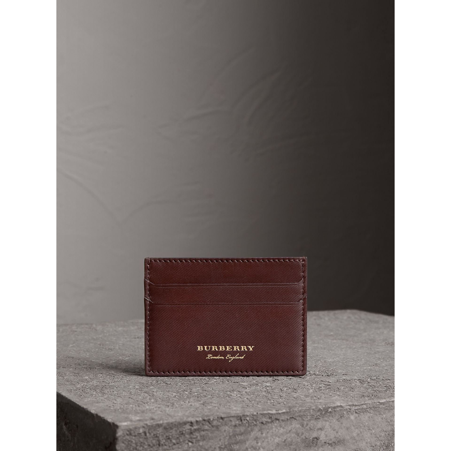 Trench Leather Card Case in Wine - Men | Burberry United States - gallery image 4