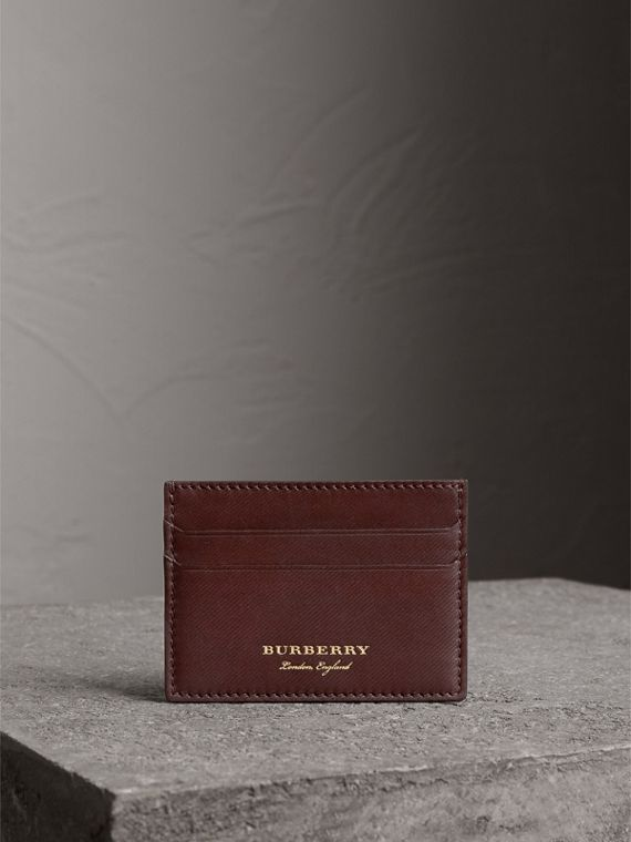 Trench Leather Card Case in Wine - Men | Burberry Canada - cell image 3