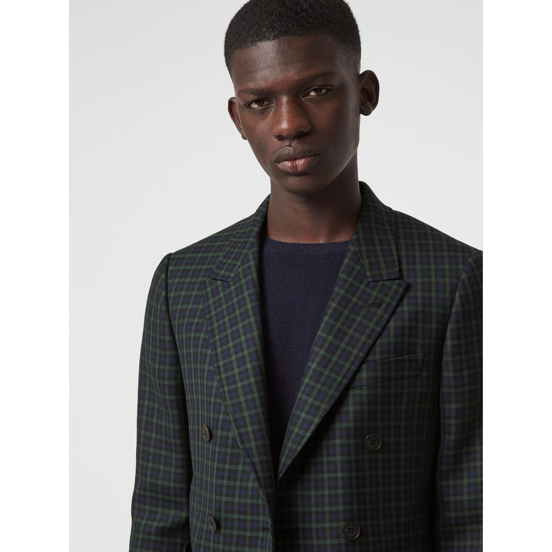 Slim Fit Tartan Wool Tailored Jacket in Navy - Men | Burberry - gallery image 1