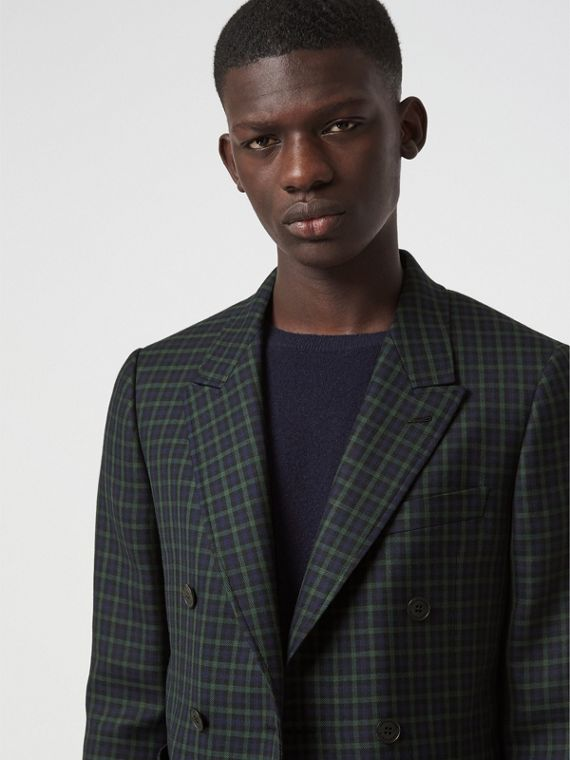 Slim Fit Tartan Wool Tailored Jacket in Navy