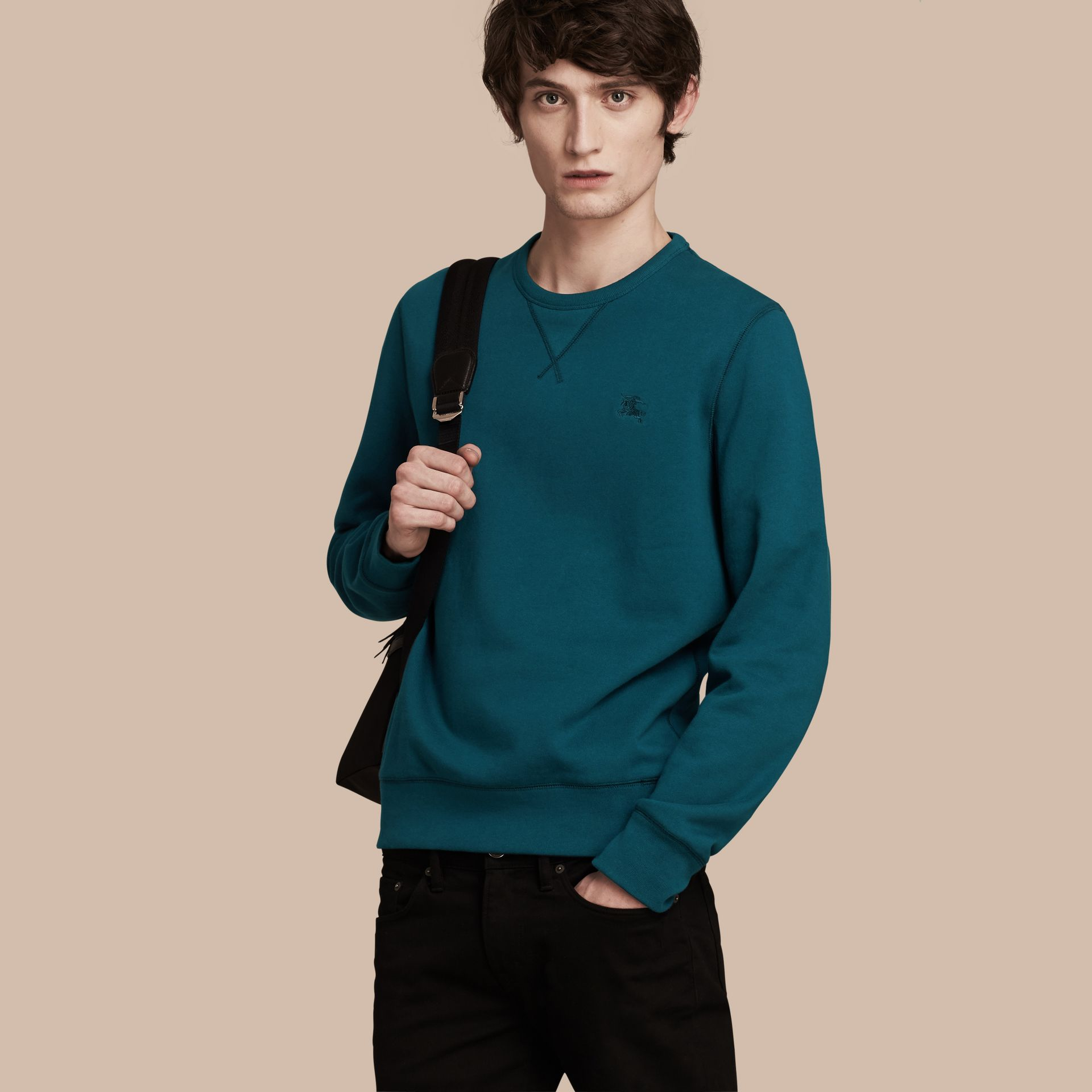 Mineral blue Cotton Blend Jersey Sweatshirt - gallery image 1
