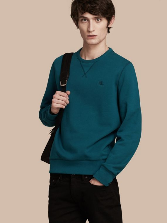 Cotton Blend Jersey Sweatshirt Mineral Blue