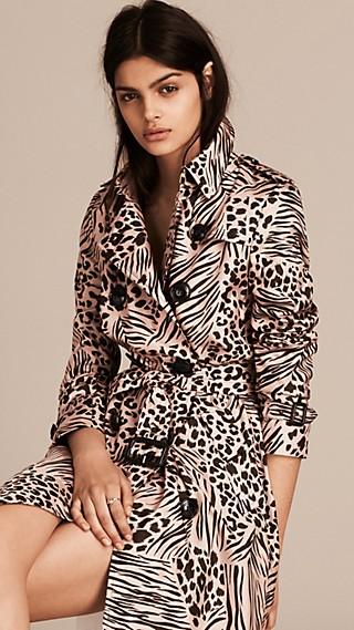 Trench-coat en soie avec imprimé fauve en patchwork