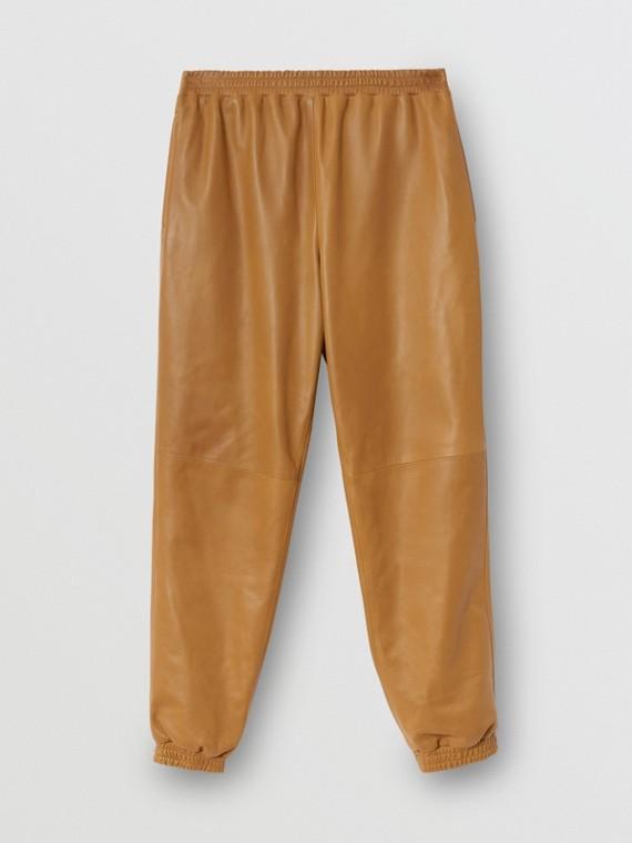 Track pants de couro de cordeiro plongé (Avelã Intenso)