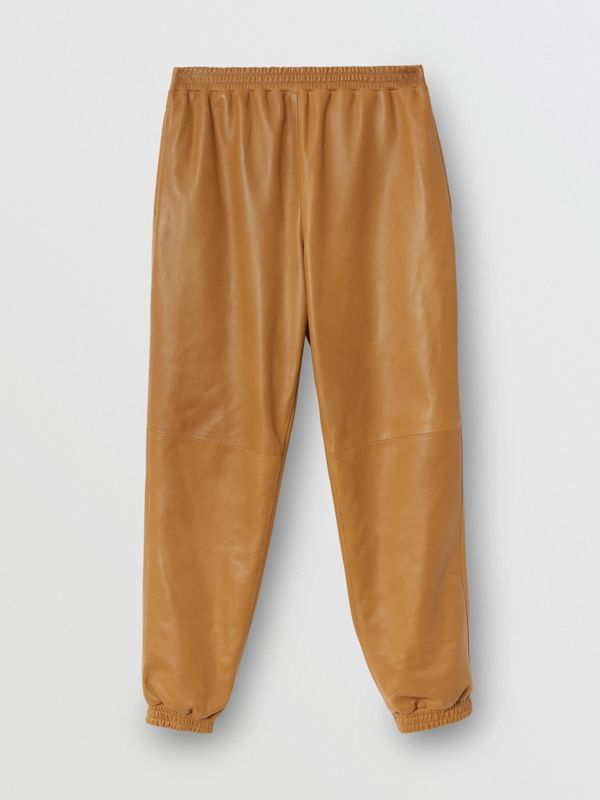 Plonge Lambskin Trackpants in Warm Walnut - Men | Burberry - cell image 3