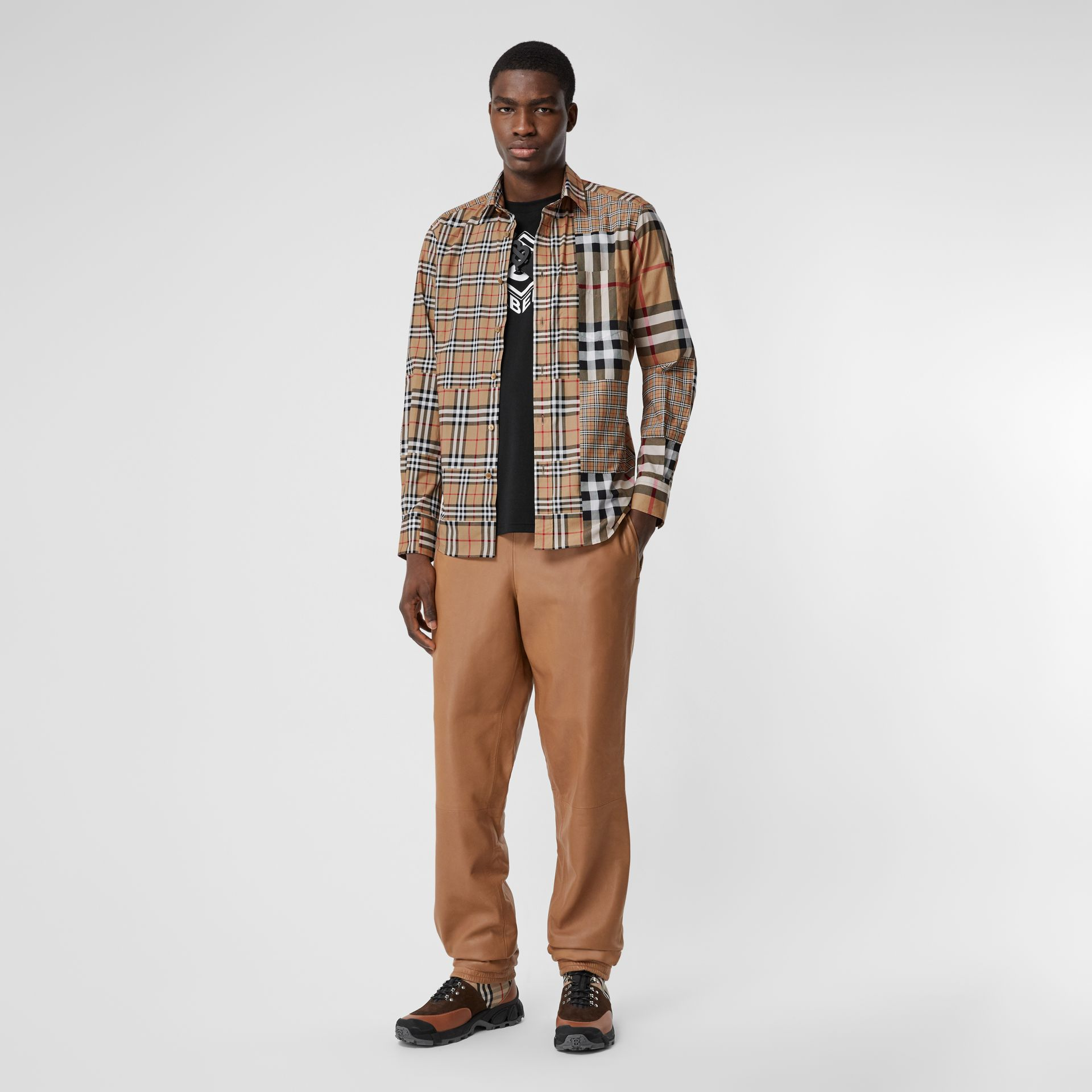 Classic Fit Patchwork Check Cotton Shirt in Archive Beige | Burberry United Kingdom - gallery image 5
