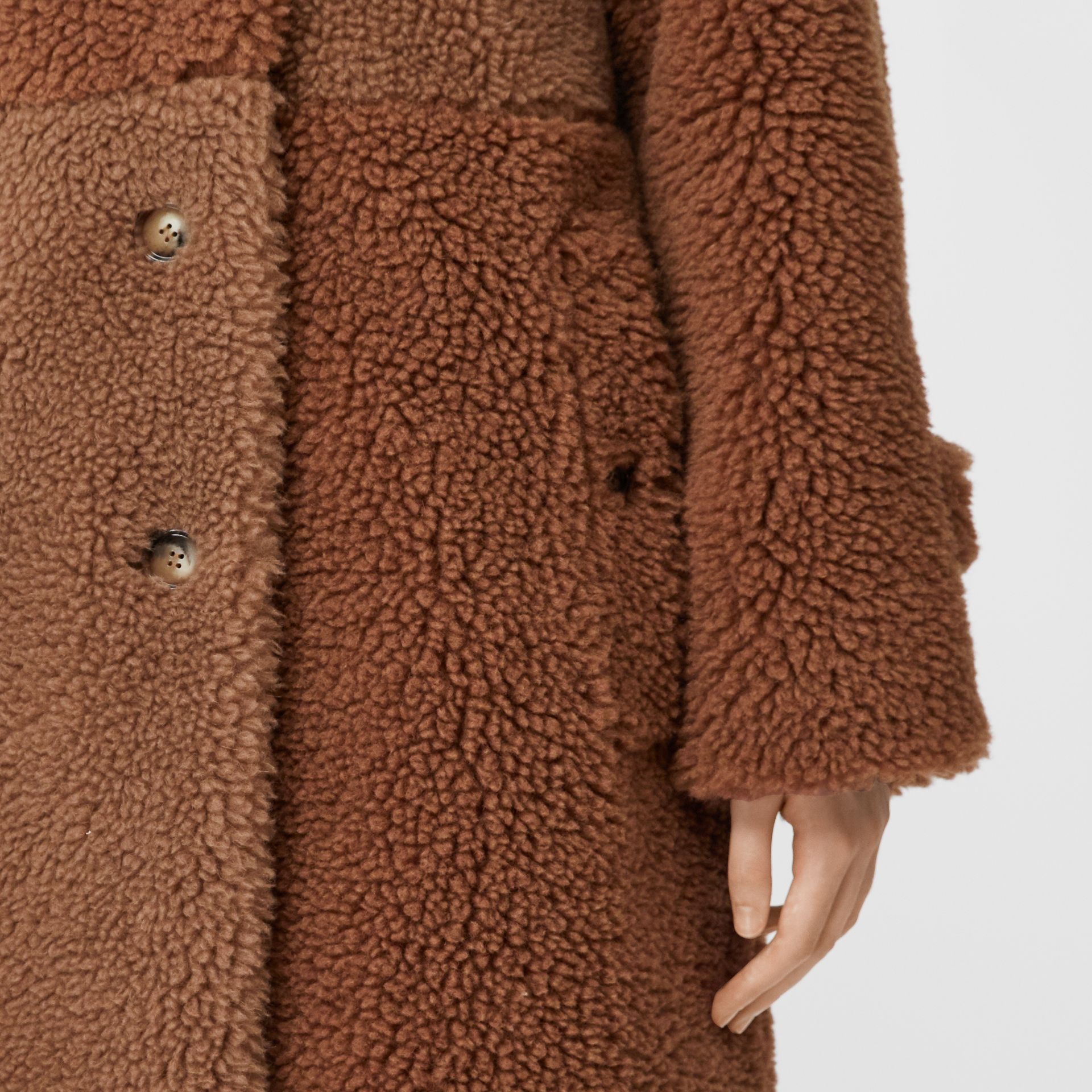 Faux Shearling and Camel Hair Blend Coat in Brown - Women | Burberry United Kingdom - gallery image 4