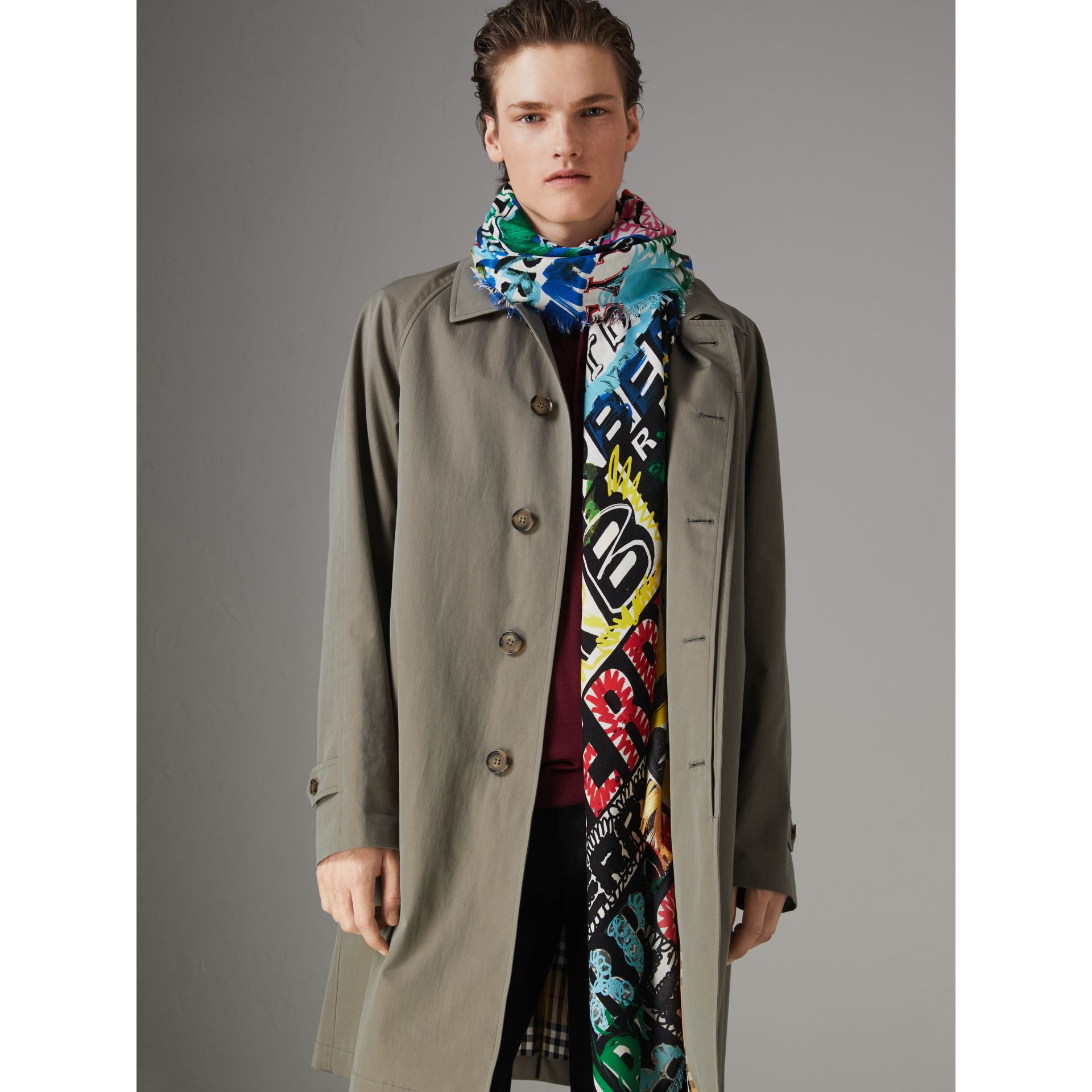 Tag Print Wool Silk Large Square Scarf in Multicolour | Burberry - gallery image 5