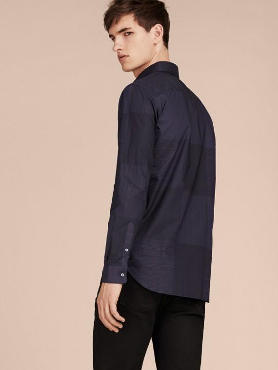 Azul marinho Camisa de algodão com estampa xadrez Azul Marinho - cell image 2