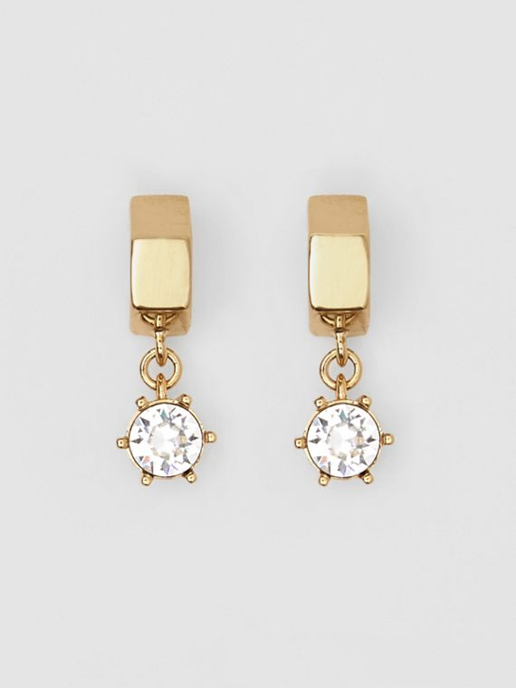 Crystal Charm Gold-plated Nut Earrings in Light