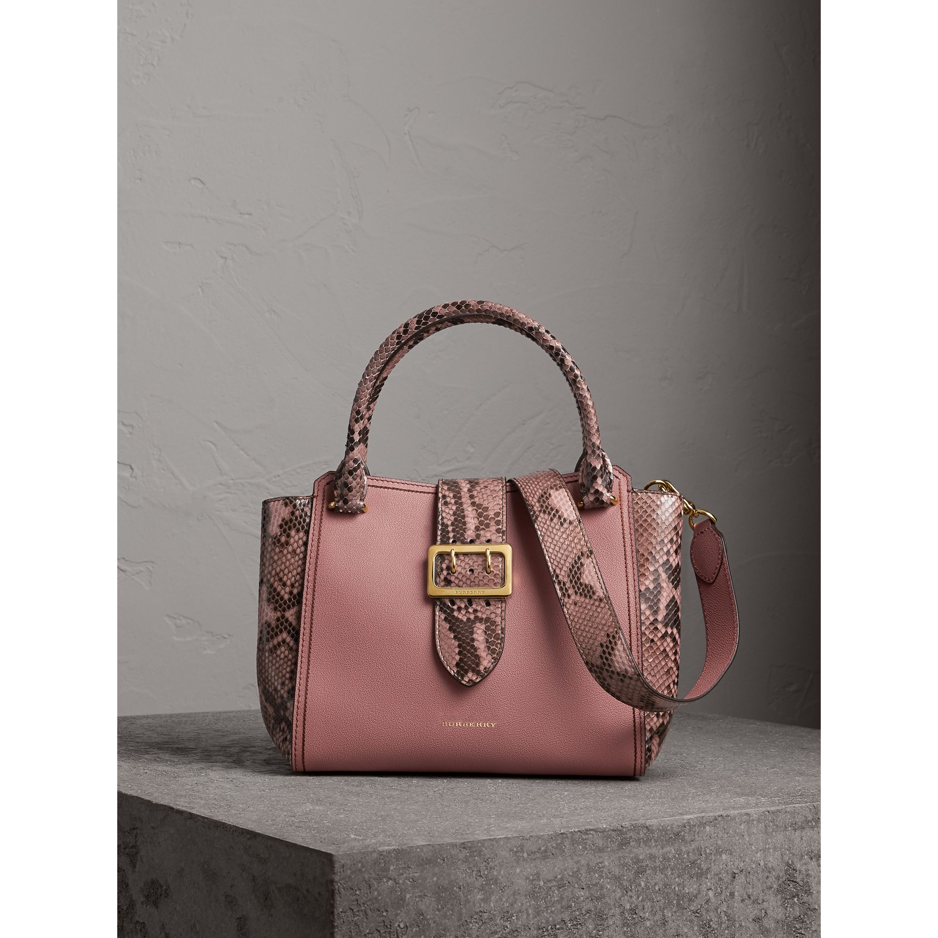 The Medium Buckle Tote in Grainy Leather and Python in Dusty Pink - Women | Burberry United States - gallery image 8