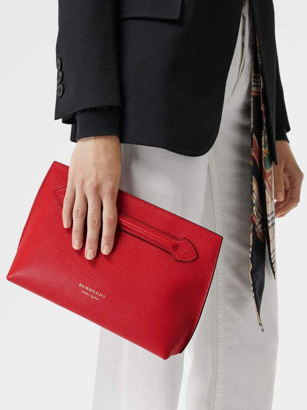 Grainy Leather Wristlet Clutch in Bright Red - Women | Burberry United Kingdom - cell image 3