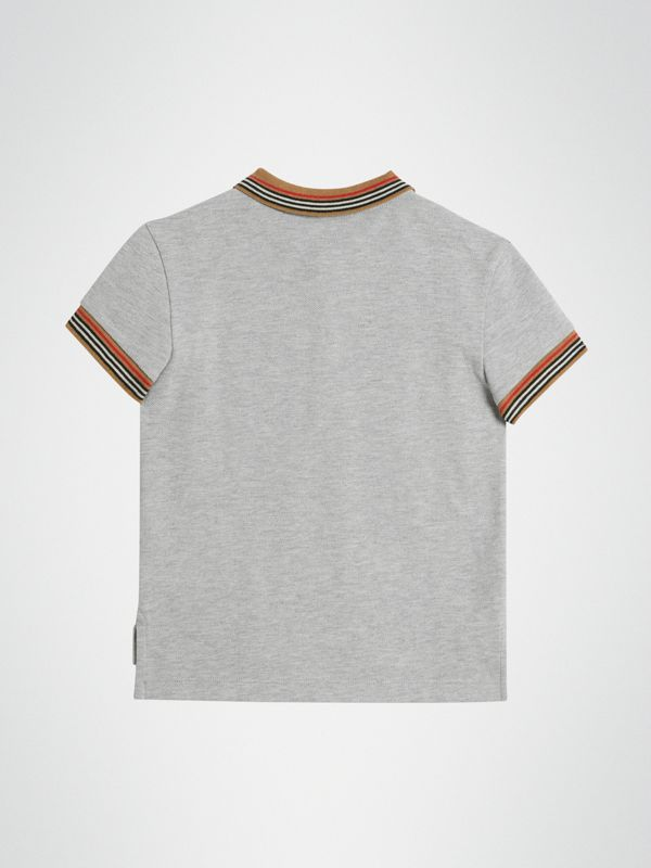 Icon Stripe Detail Cotton Polo Shirt in Grey Melange | Burberry - cell image 3