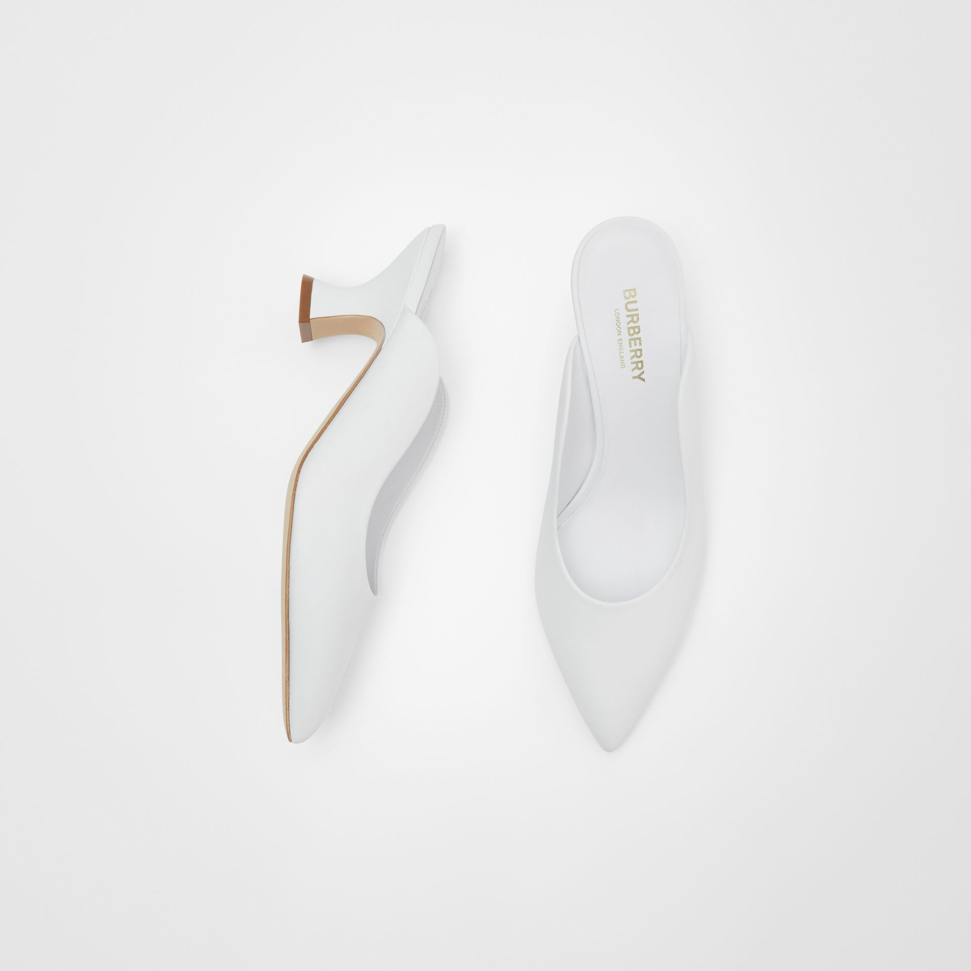 Leather Point-toe Mules in White - Women | Burberry - gallery image 0
