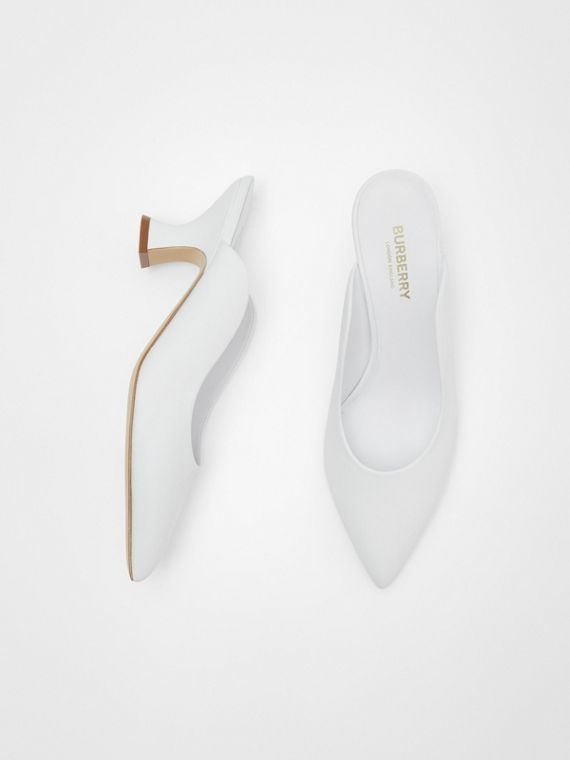 Leather Point-toe Mules in White