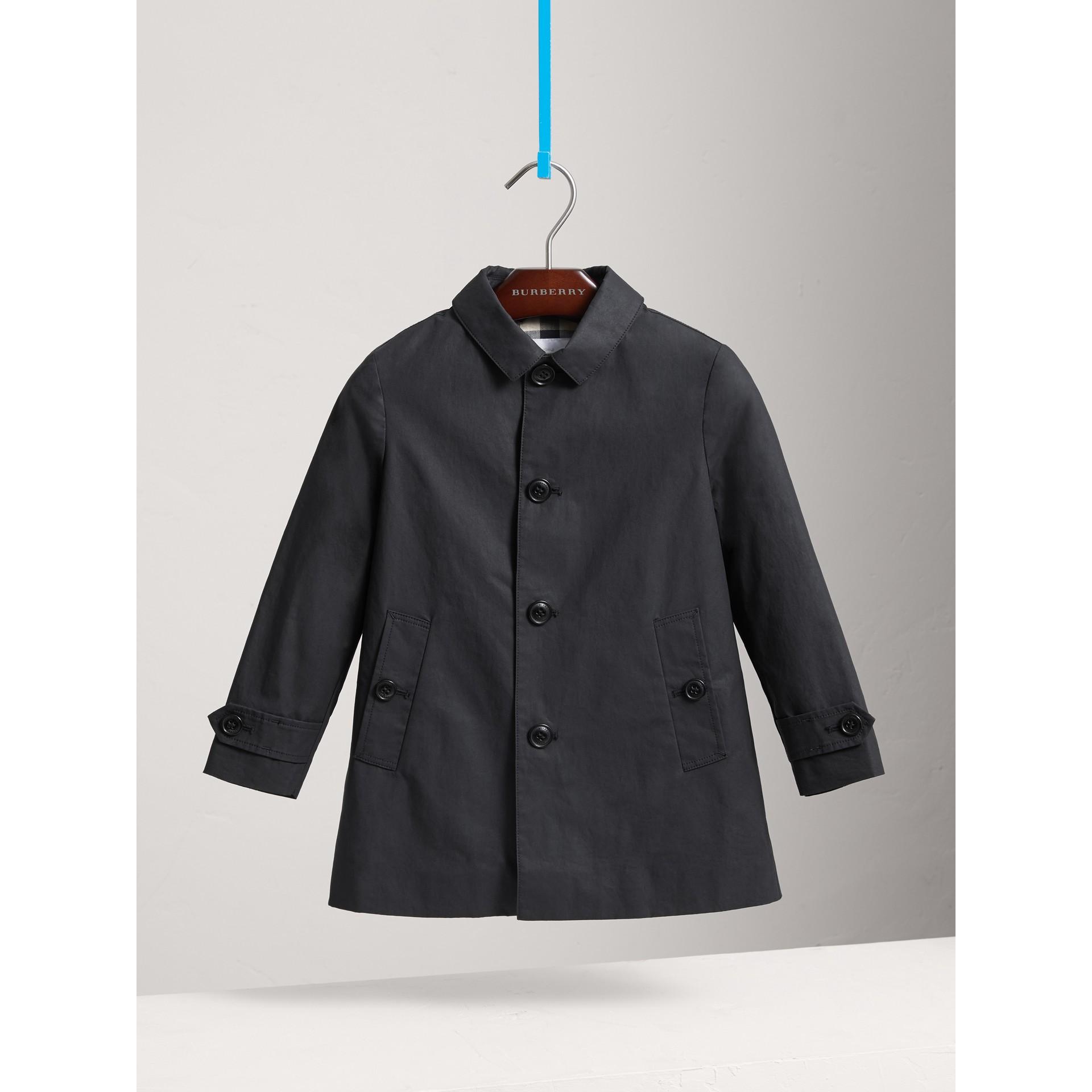 Mercerised Cotton Car Coat in Black | Burberry United States - gallery image 0