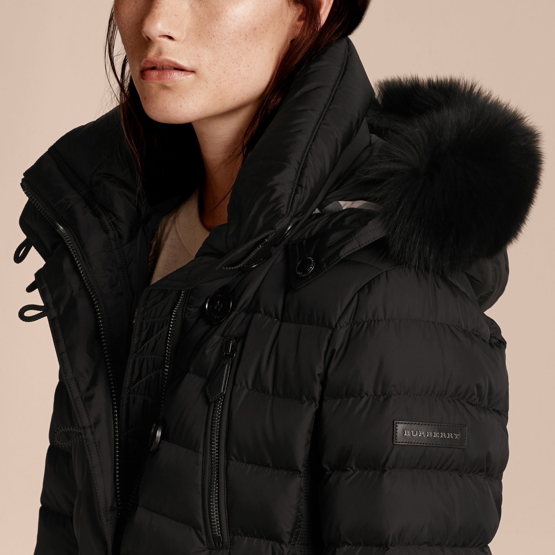 Black Down-filled Parka with Detachable Fox Fur Trim Black - gallery image 5