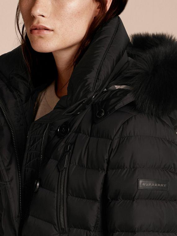 Black Down-filled Parka with Fur Trim Black - cell image 2