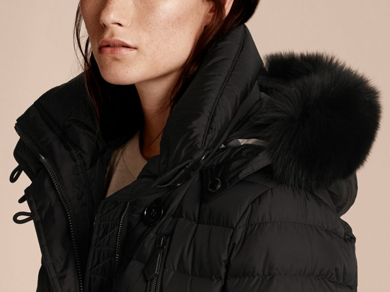Black Down-filled Parka with Detachable Fox Fur Trim Black - cell image 4