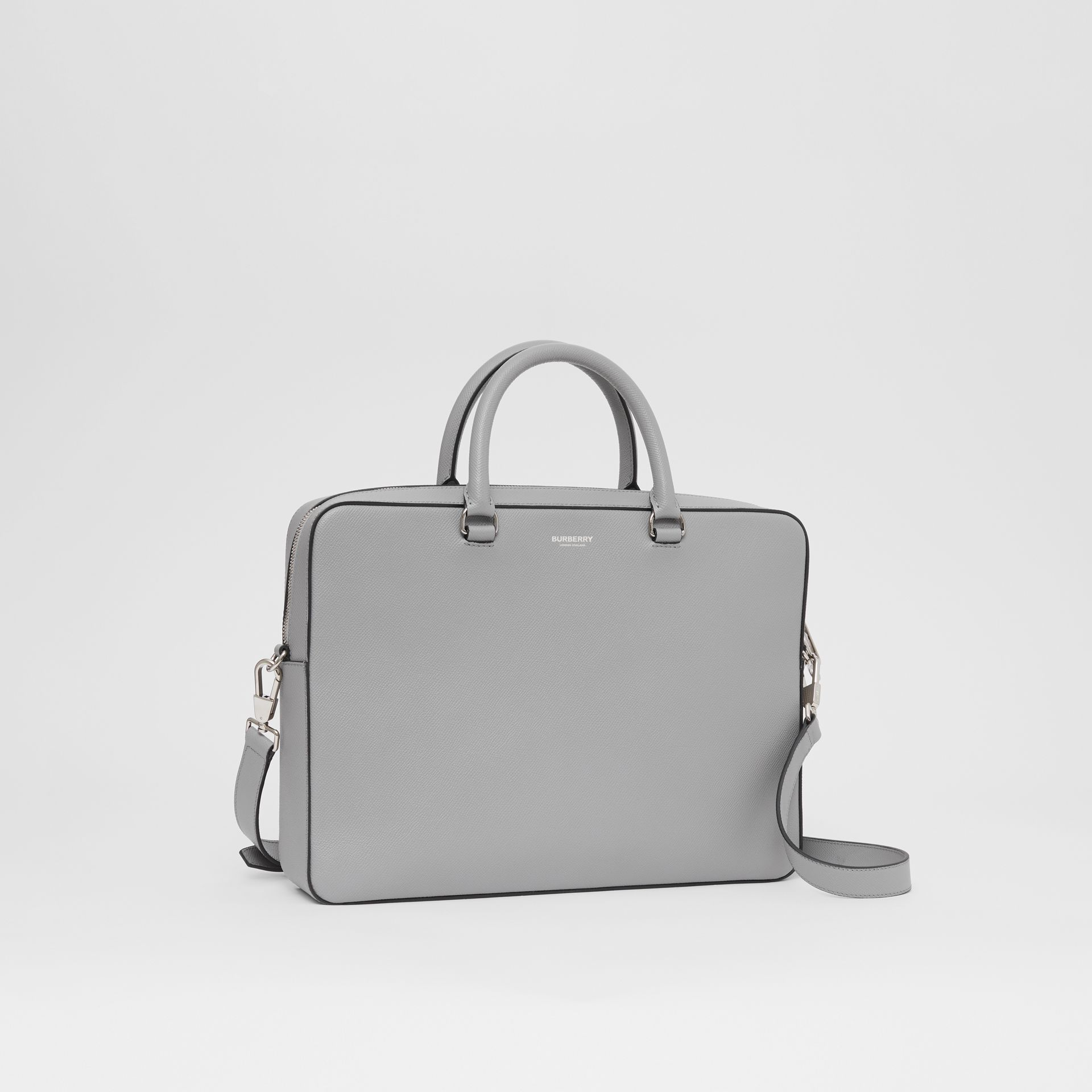 Grainy Leather Briefcase in Cloud Grey - Men | Burberry - gallery image 6