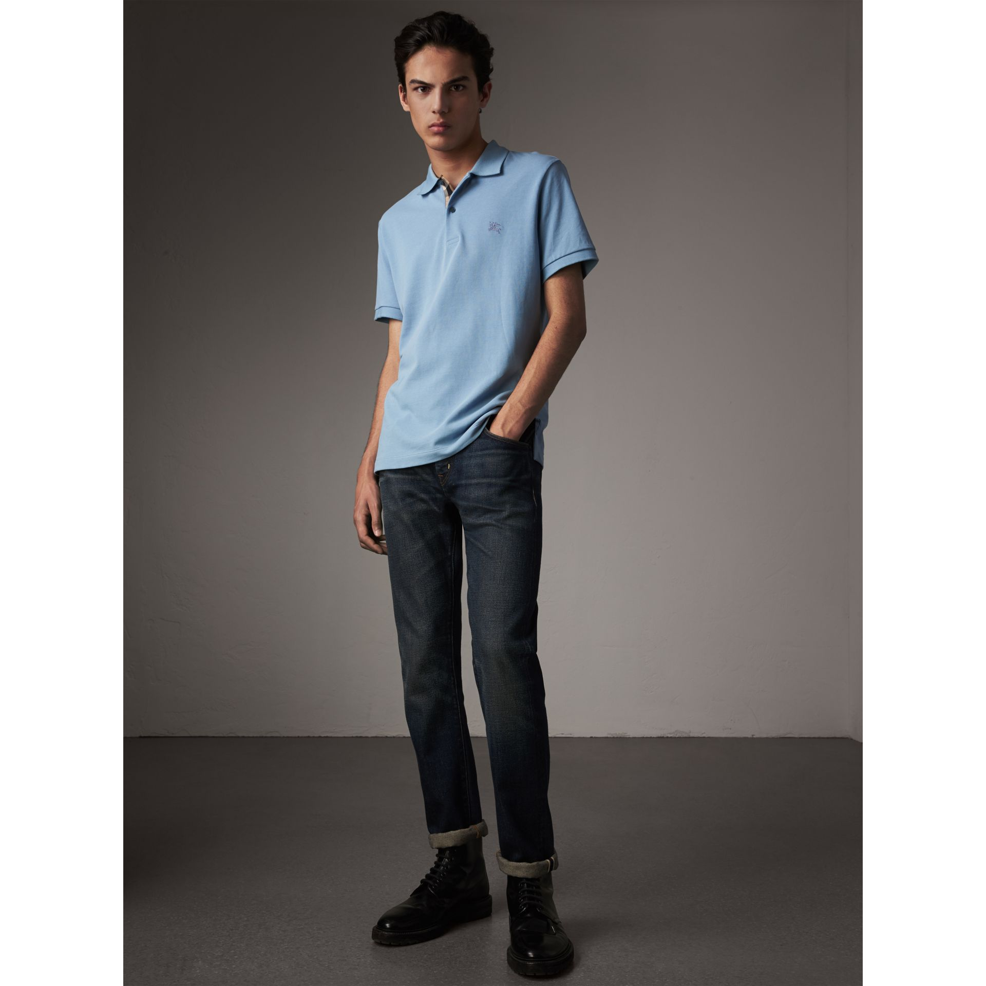 Check Placket Cotton Piqué Polo Shirt in Pale Blue - Men | Burberry Canada - gallery image 4