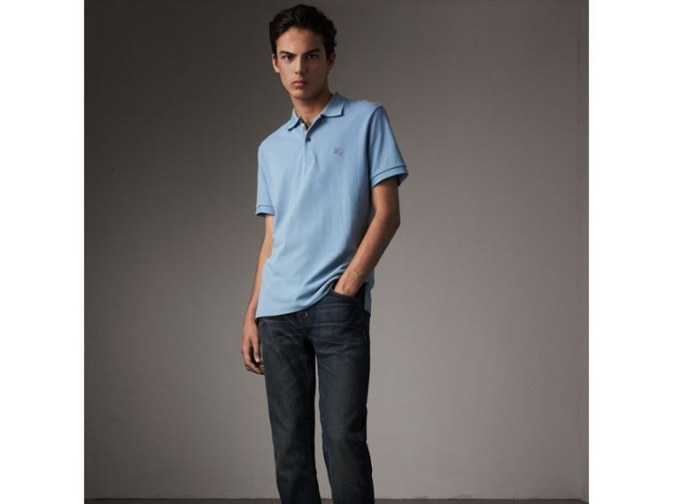 Check Placket Cotton Piqué Polo Shirt in Pale Blue - Men | Burberry - cell image 4