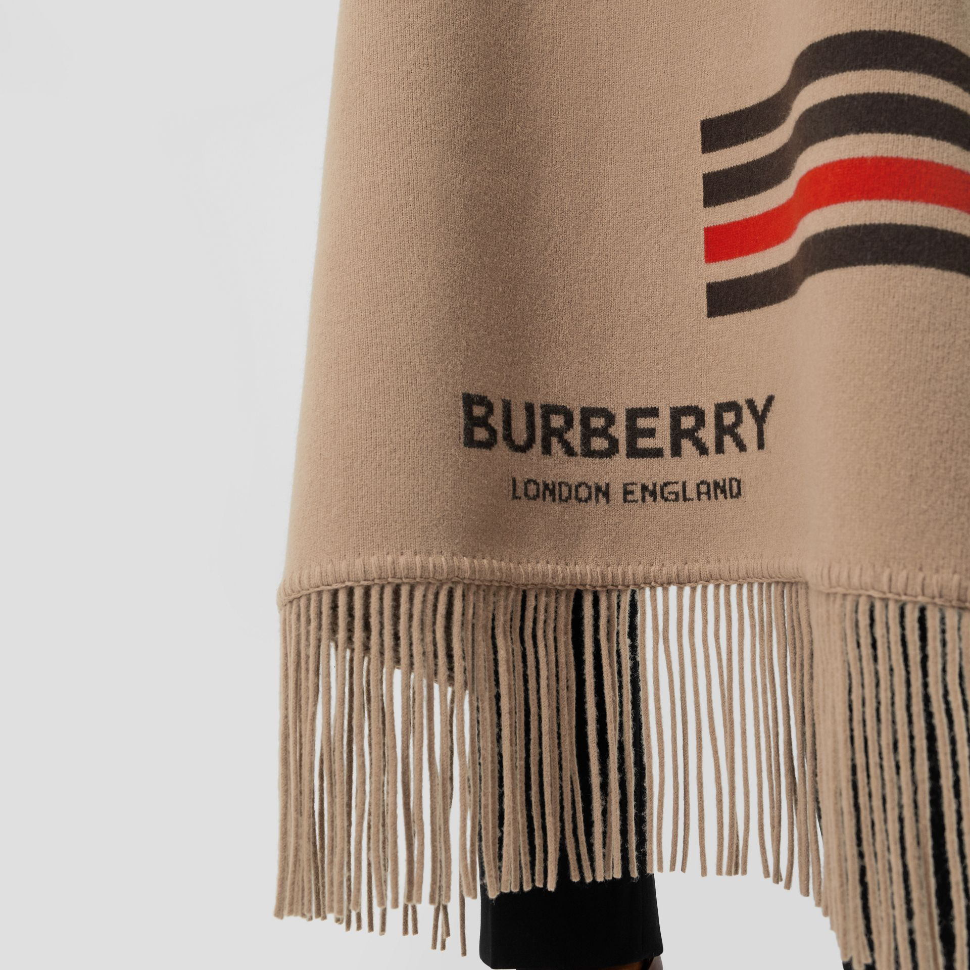 Striped Wool Cashmere Blend Cape in Camel - Women | Burberry - gallery image 7
