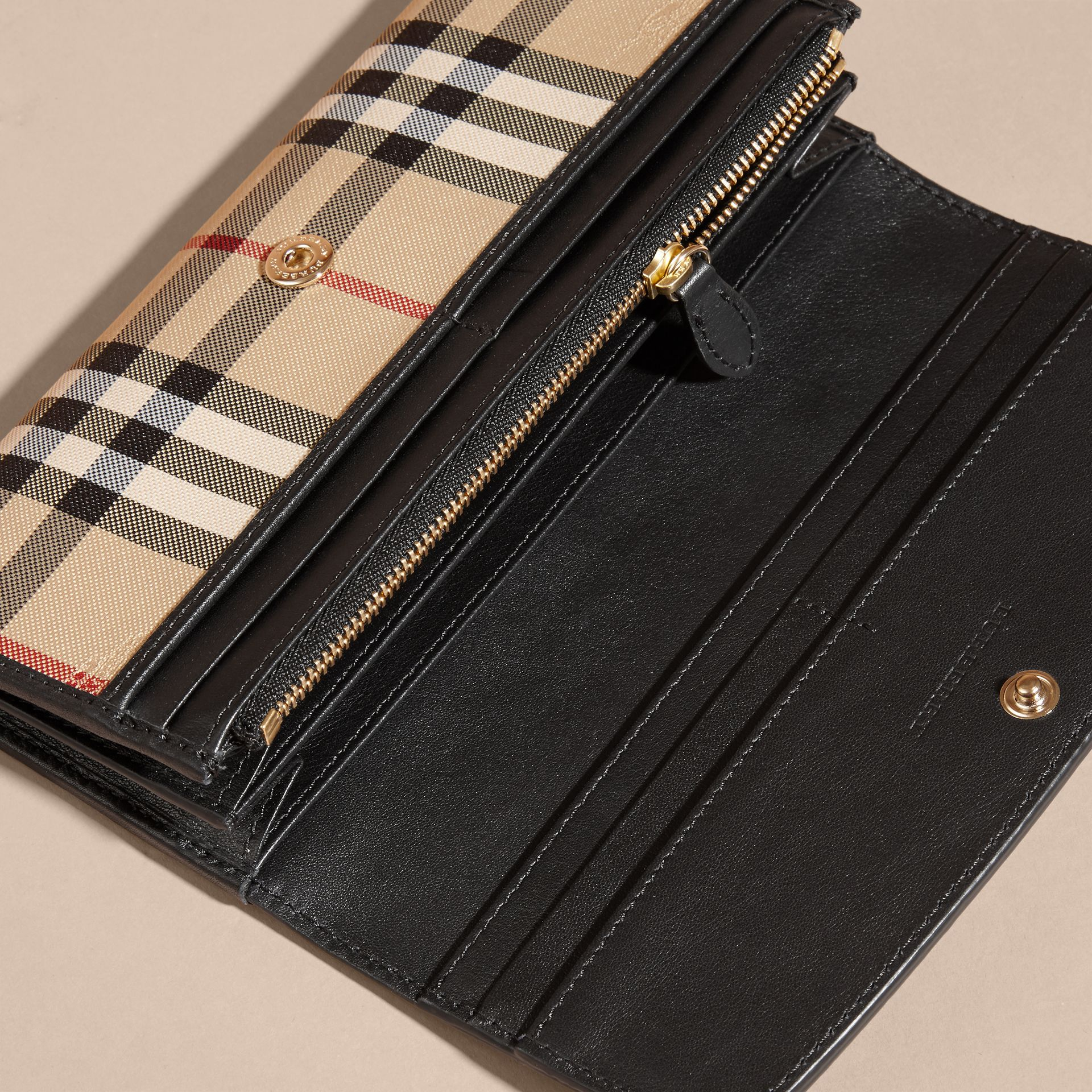 Horseferry Check and Leather Continental Wallet in Black - Women | Burberry - gallery image 5