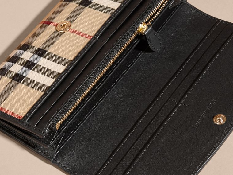 Horseferry Check and Leather Continental Wallet in Black - cell image 4