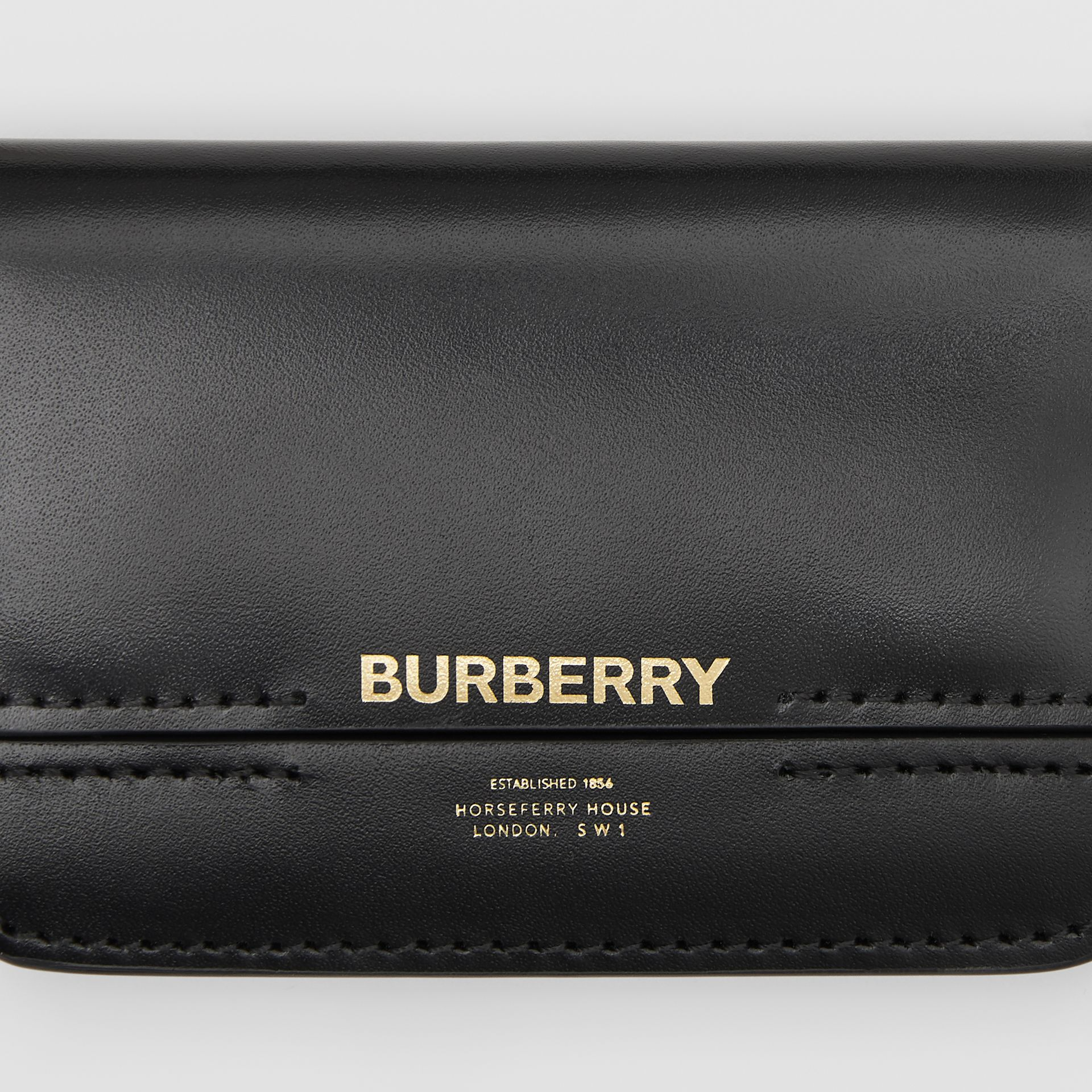 Horseferry Print Card Case with Detachable Strap in Black - Women | Burberry - gallery image 1