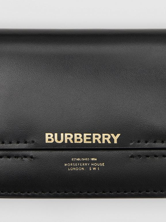 Horseferry Print Card Case with Detachable Strap in Black - Women | Burberry - cell image 1