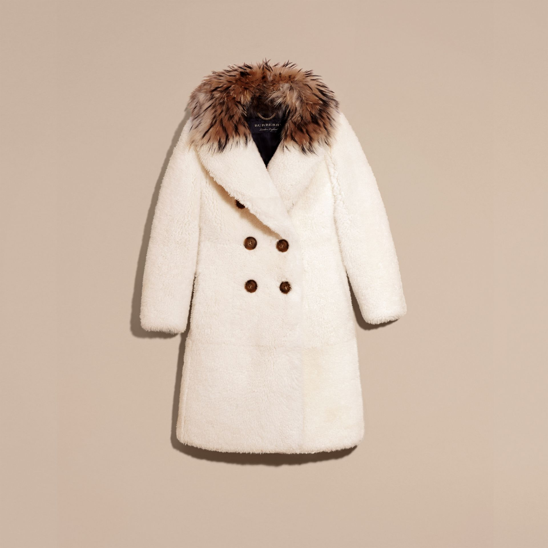 White Double-breasted Shearling Coat - gallery image 4