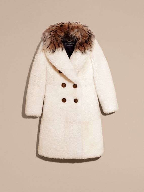 White Double-breasted Shearling Coat - cell image 3
