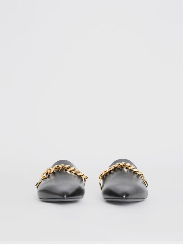 Chain Detail Leather Mules in Black - Women | Burberry - cell image 3