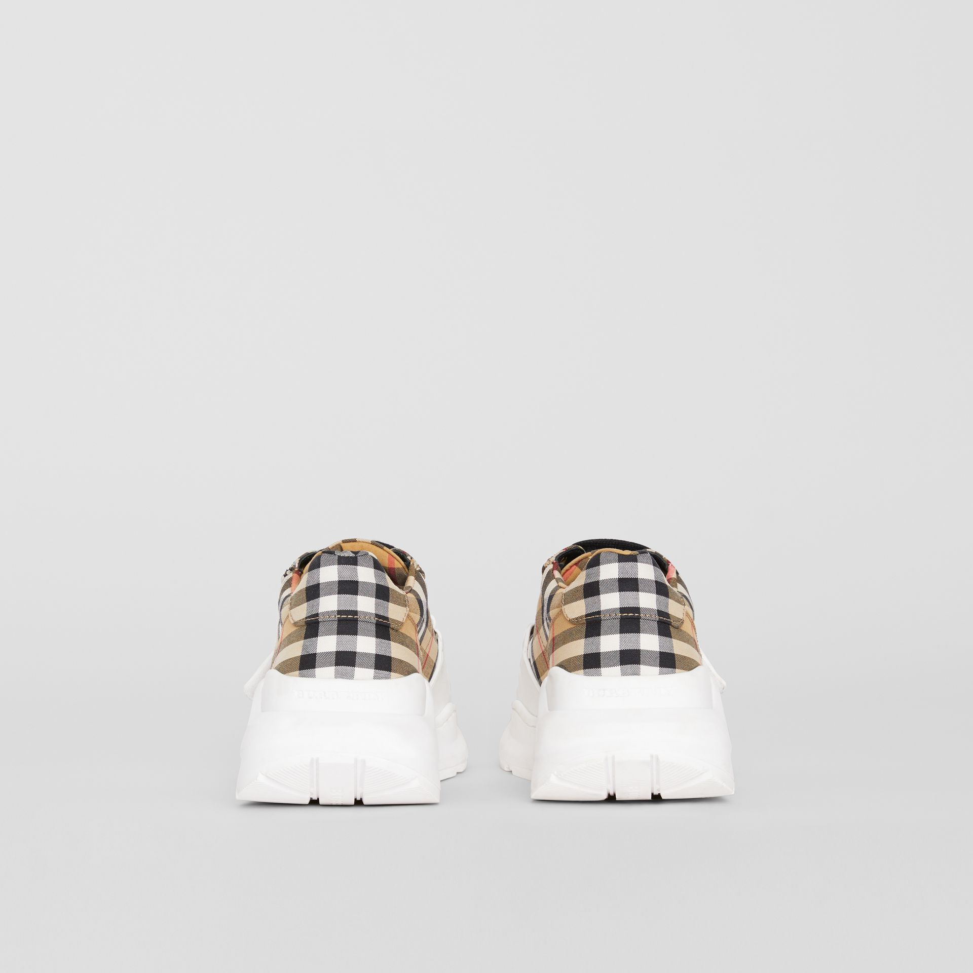 Vintage Check Cotton Sneakers in Antique Yellow - Women | Burberry Australia - gallery image 3