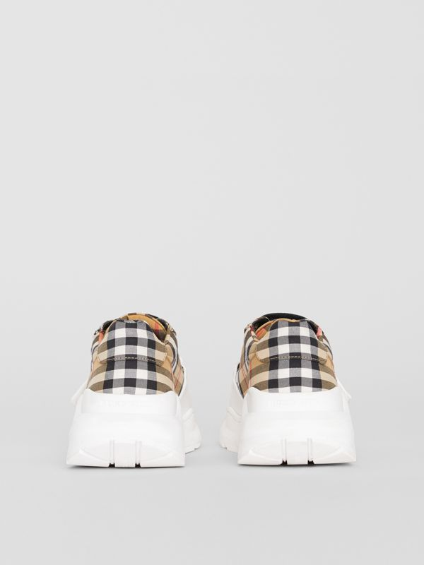 Vintage Check Cotton Sneakers in Antique Yellow - Women | Burberry Australia - cell image 3