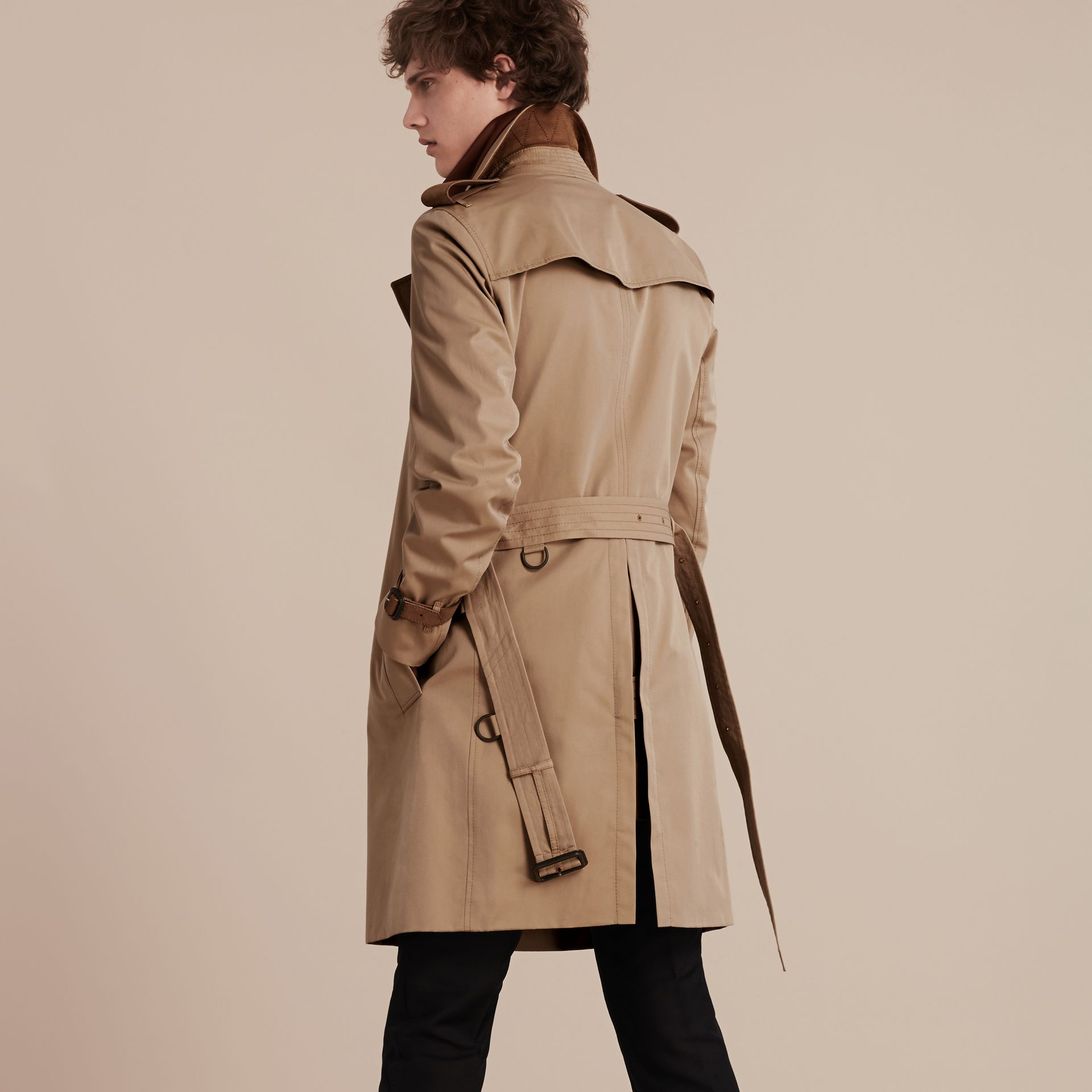 Honey Leather-trimmed Cotton Trench Coat - gallery image 3