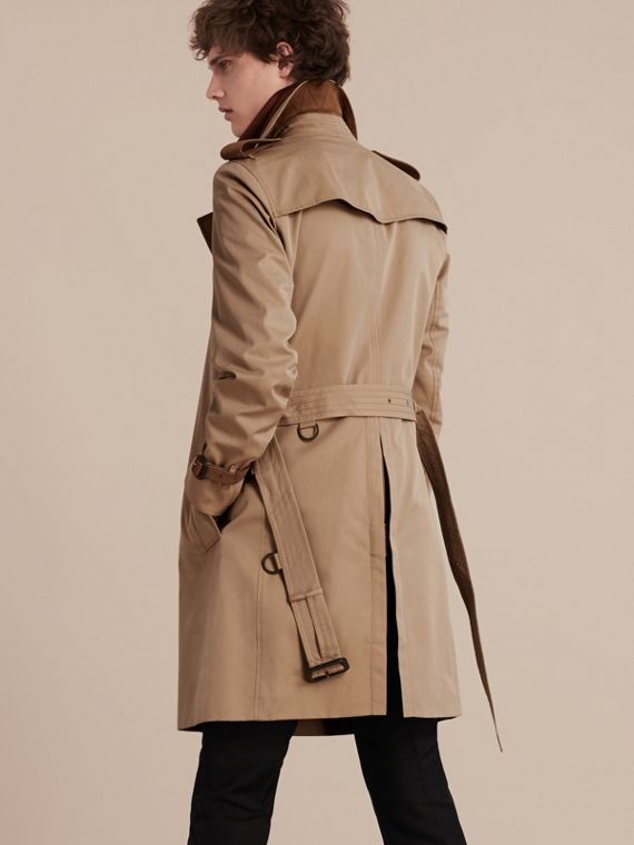 Honey Leather-trimmed Cotton Trench Coat - cell image 2