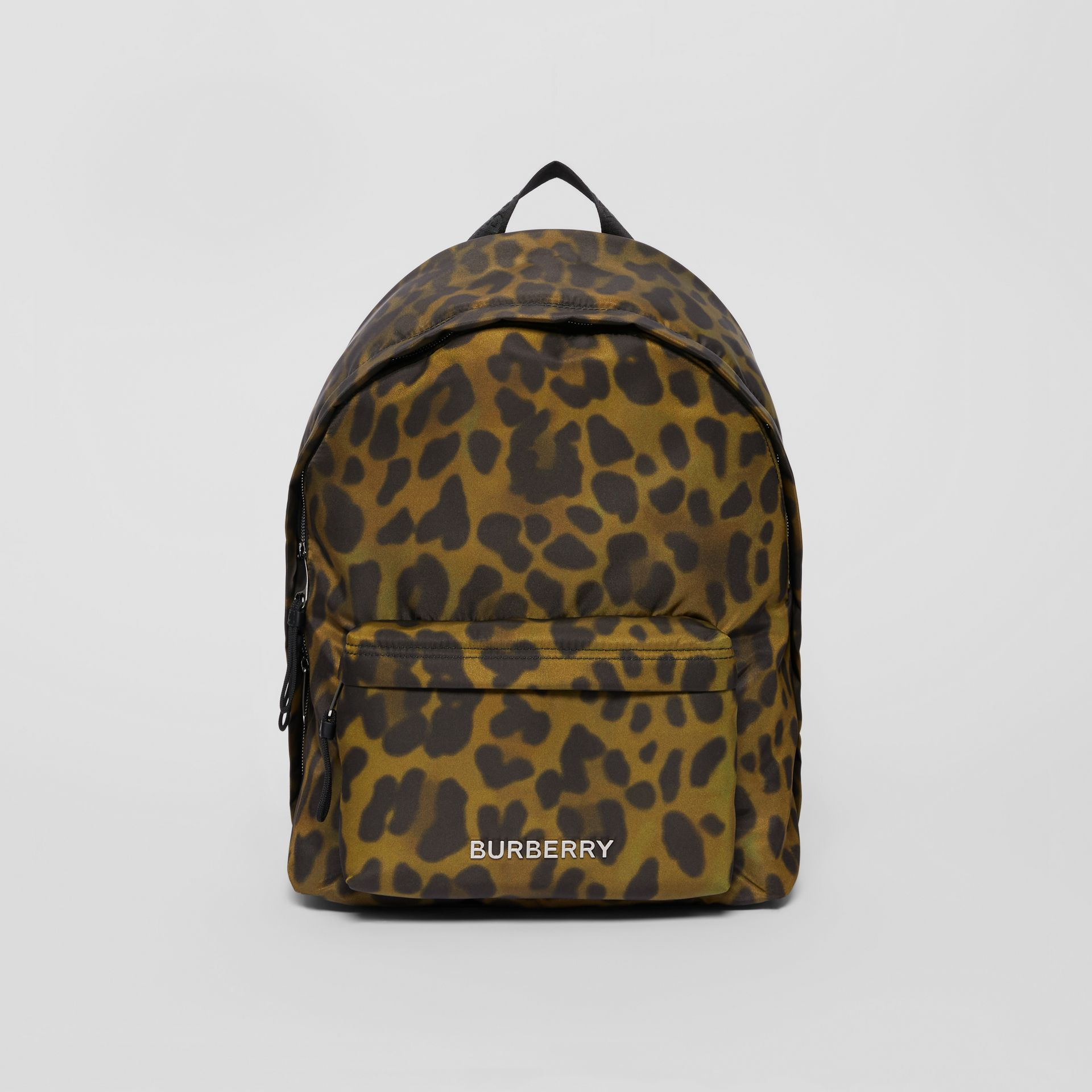 Leopard Print Nylon Backpack in Khaki Green | Burberry Australia - gallery image 0