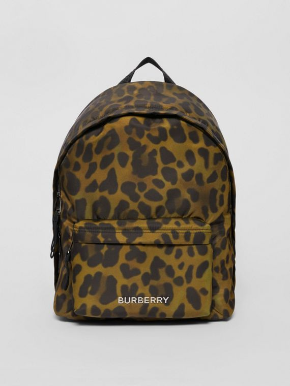 Leopard Print Nylon Backpack in Khaki Green