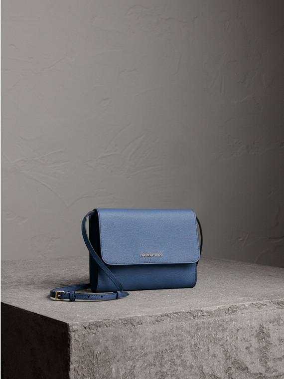 Grainy Leather Crossbody Bag in Steel Blue