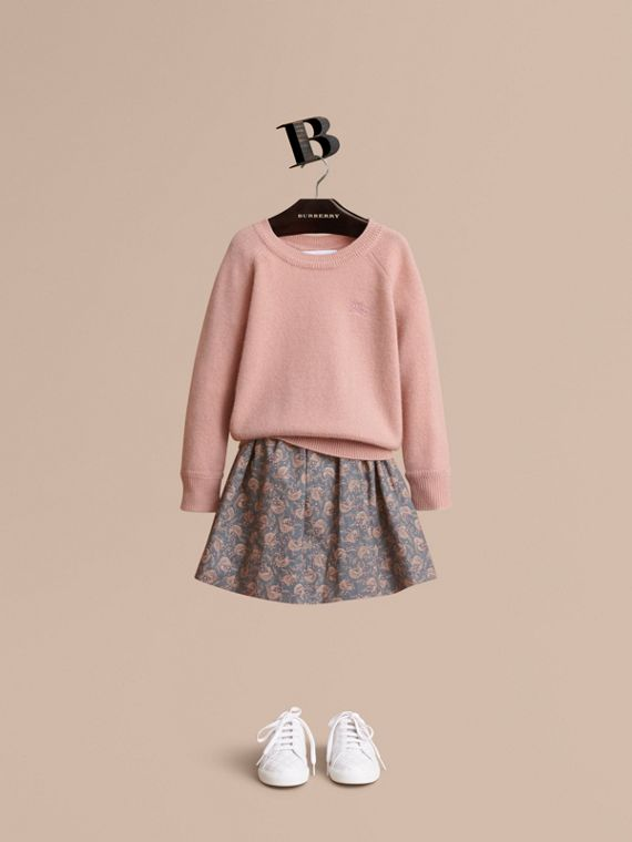 Check Detail Cashmere Sweater in Dusty Pink