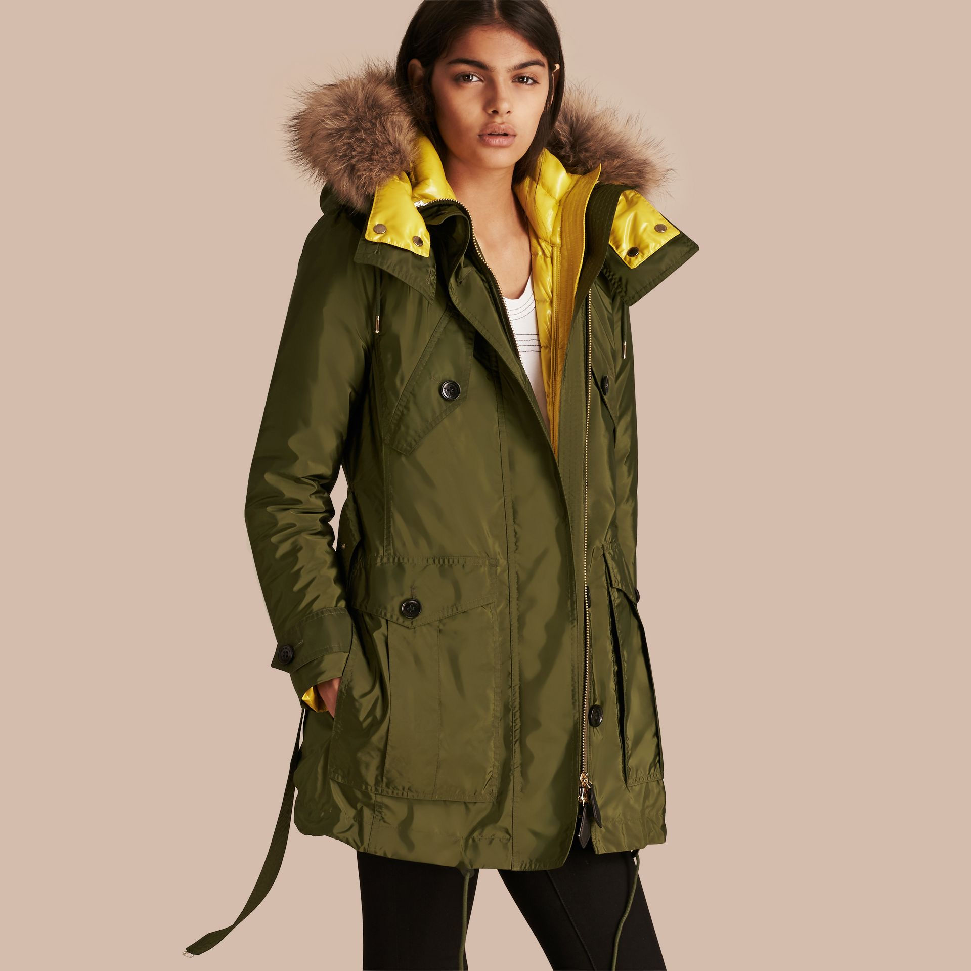 Bright moss green Fur-trimmed Parka with Detachable Down-filled Jacket Bright Moss Green - gallery image 1
