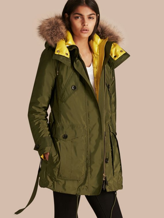 Fur-trimmed Parka with Detachable Down-filled Jacket in Bright Moss Green