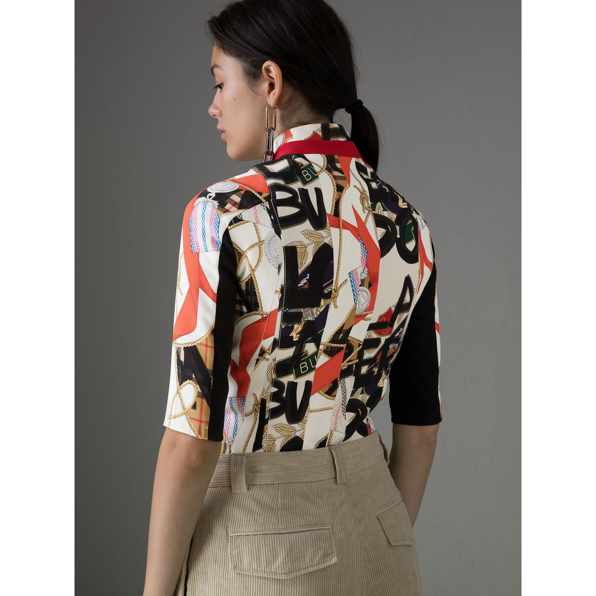 Graffiti Archive Scarf Print Silk Wool Half-zip Top in Stone - Women | Burberry - gallery image 2
